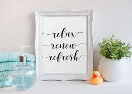 Etsy Laundry Room Decor by Bathroom Decor Relax Renew Refresh Bathroom Quote Bathroom Wall