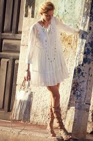 boho hippie style clothing for women white lace dresses fringe