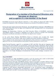 press release resignation of a member of the board of directors