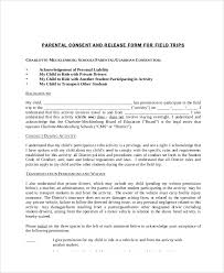 parent release form general liability waiver form general