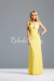 robe de soir e mari e robes de soirée jaune a line bretelles en forme de v décolleté e
