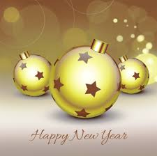 how to create happy new year greeting card with balls on