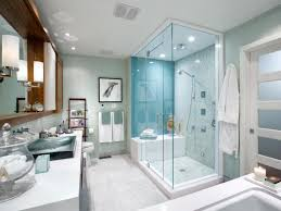 glass shower room with blue wall tiles for opulent bathroom