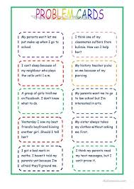 advice for cards giving advice problem cards worksheet free esl printable