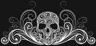 skull scroll border free design