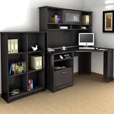 L Shaped Desk With Bookcase Bush Industries Cabot 3 L Shaped Desk Set With Hutch