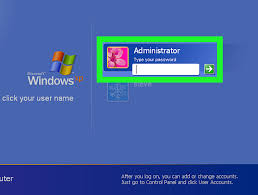 how to log on to windows xp using the default blank administrator
