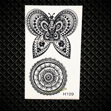 black butterfly waterproof temporary sunflower designs