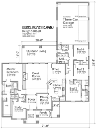 Floor Plans For One Story Homes 3062 Sf 4 Br 4 Ba With Study 3 Car Garage House Plans By Korel