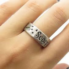 ring size 9 shube vintage sterling silver scorpio zodiac sign wide men s band