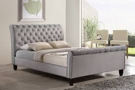 Grey Sleigh Bed The Seven Drawers Modern Upholstered Beds Edmonton