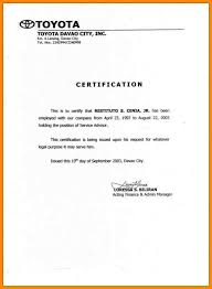 Certification Letter Format Sle Certification Letter Template Sle 28 Images 9 Sle Of