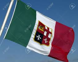 Flag That Is Green White And Red Italian Green White And Red Merchant Marine Flag Against A Blue
