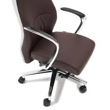 Brown Leather Task Chair Wrigley Genuine Leather Aluminum Base High Back Executive Chair