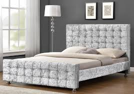 silver bed boston crushed velvet diamante silver bed frame sensation sleep