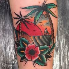 24 traditional palm tree on sleeve
