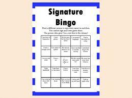 signature bingo game magical printable