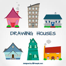 drawing houses colorful drawing houses vector free download