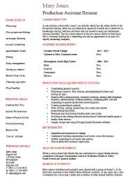 production resume template free entry level production assistant resume template sle