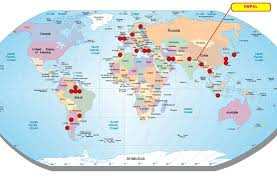 world map with country names and latitude and longitude where is nepal located in the world