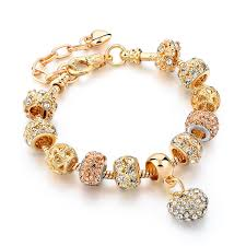 Gold Personalized Bracelets Aliexpress Com Buy Chicvie Gifts Gold Color Crystal Heart Charm