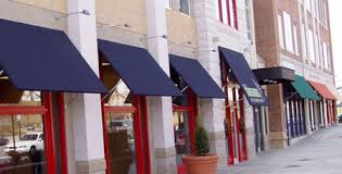 business awnings and canopies many companies are now using a mix of canvas and metal awnings on