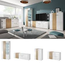 Wohnzimmerschrank In Eiche Wohnzimmer Gentle In Eiche U0026 Weiss Hochglanz Mit Led Möbel89