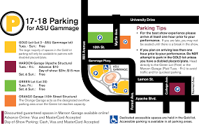University Of Arizona Parking Map by Directions And Parking Asu Gammage