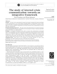 the study of internal crisis communication towards an integrative