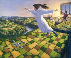 each of gonsalves paintings contain optical illusions look closely to see where one ends and the other begins