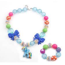diy necklace set images Diy hand made acid blue crystal rose chunky ball beads girl kid jpg