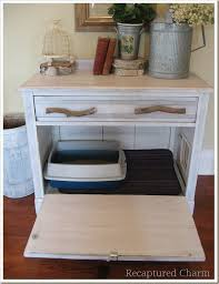 litter box end table weekend diy project turn an old cabinet into a kitty loo homejelly