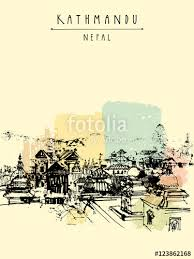 pashupatinath hindu temple kathmandu nepal travel sketch on