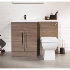 Bathroom Furniture Oak 1100mm L Shape Oak Vanity And Wc Unit With Square Toilet Plumbworkz