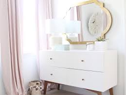 White And Pink Nursery Curtains Gold Mirror Nursery Dresser Transitional Nursery
