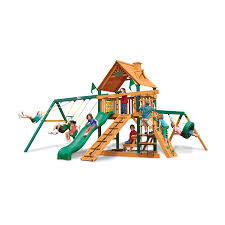 Playground Flooring Lowes by Shop Gorilla Playsets Frontier Residential Wood Playset With