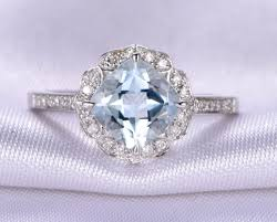 rings blue stone images Vintage aquamarine engagement ring 14k white gold 7x7mm cushion jpg
