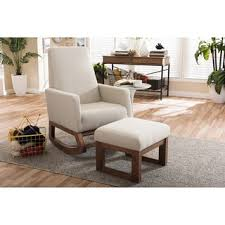 Upholstered Rocking Chair With Ottoman Strick Bolton Coleman Mid Century Modern Light Beige Upholstered