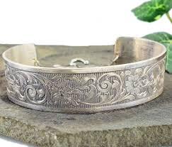 antique sterling silver cuff bracelet images Victorian style sterling floral engraved cuff bracelet jpg