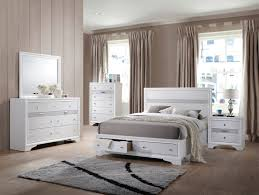 Contemporary White King Bedroom Set Acme Naima 4pc Panel Storage Bedroom Set In White