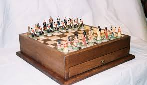 hand crafted cowboys and indians chess board by merle yoder