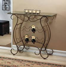 metal wine rack table glass top iron scroll entry table console bar wine bottle holder