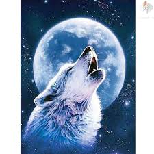 wolf and moon painting cross stitch square drill