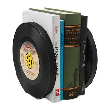 recycled record bookends set of 2 music memorabilia vinyl