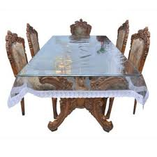Online Shopping For Dining Table Cover Prime Dining Table Cover Transparent With White Lace 6 8 Seater