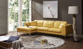 Left Sectional Sofa Living Room J M Soleil Premium Leather Sectional Sofa In Yellow
