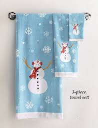 christmas towels frosty snowman bathroom towels set of 3 home kitchen
