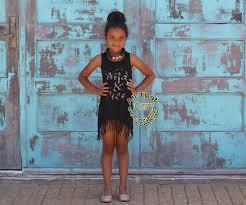 leopard print wild black fringe dress for baby girls little girls
