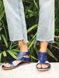 free people soto washed leather sandal in blue lyst