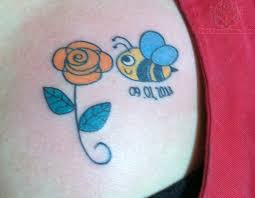 bee on rose shoulder tattoo in 2017 real photo pictures
